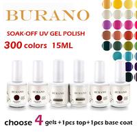 BURANO Soak Off Uv nail Gel Polish Top+basecoat+4pcs gel nail color polish 15ml 0.5oz high quality as ibd cnd NEW