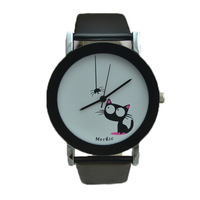 2014 new fashion good high quality women children girl ladies funny spider cat dress japan quartz wrist Watch Wristwatch hour