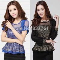2014 women new fashion ruffle slim lace top short-sleeve and long sleeves chiffon shirt female summer blouses