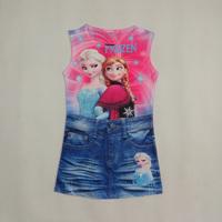 2014 New Girl Frozen dress Cartoon Sleeveless dresses tutu Kids  frozen dress elsa princess summer printing retail A098