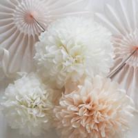 Free Shipping 15pcs mixed 3 sizes (10cm,15cm,25cm) Tissue Paper Pom Poms Wedding ,Party, Nursery, Birthday, Festival Decoration
