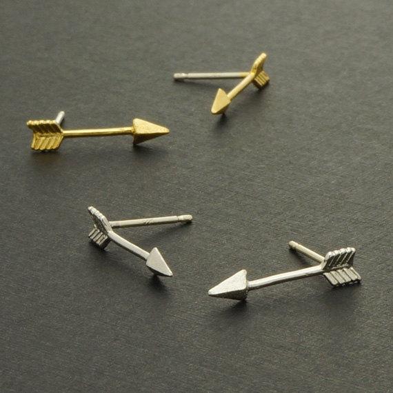 Metalwork Minima Military Sterling Silver Cupid Arrow Studs Earrings For Men Hunger Games Silverholic