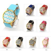2014 Fashion high quality  Leather Quartz Watch With GENEVA Rose Flower Design Women Dress ladies wrist_watches Free Shipping