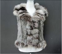 Natural Knitted Rabbit Fur Vest With Fox Fur Collar ~ NEW STYLE ~ FAST SHIPPING