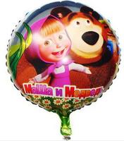 2014 hot sale invitations cartoon aluminum classic toy masha and bear balloon happy birthday decoration for supplies foil ballon