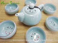 Longquan celadon ceramic tea set,china dehua porcelain kung fu teaset,fish embossed gongfu teasets kongfu tea sets,1 teapot+6cup