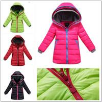 2014 winter clothes new Korean fashion Slim children girls long down jacket down jacket free shipping3-12Year old