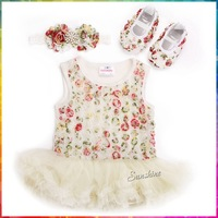 Sunshine Baby #7A5342 3 set /lot Shabby Flower Girl Party Dresses and Diamond Flower Baby Headbands and Soft Soled Shoes Set