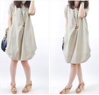 2014 Summer New Casual Women Thin Loose Short Sleeve Knee-Length Ball Gown Dress, 5 Colors, S, M, L, XL, XXL