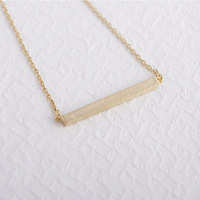 Free shipping Hot Sale 18K Gold Tiny Bar Necklace Simple Square Bar Necklaces Long Neclaces For Women