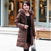 Luxurious Rex Fur Collar Winter Warm Down Coat Slim Thickening Women Parka Long Slim Down Jacket Plus Size XXXXL