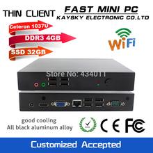 FAST MINI PC HDMI VGA thin client mini pcs intel celeron 1037U DDR3 4G RAM windows