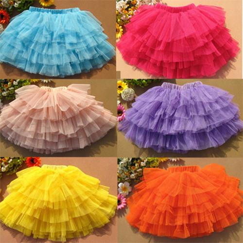 2015 summer baby girl candy color half-length mini tulle tutu skirt bailarina saias curta infantils menina kid pettiskirt(China (Mainland))