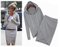 New fashion women casualTracksuits Spring & Autumn  Hoodies Casual Sportsuit  with irregular skirt ladies sets  LSP487LBR