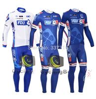 3 Style 2014 2013 FDJ FR Winter Thermal Fleece Cycling Jersey Long Sleeve and Bike bib Pants mtb maillot ciclismo clothing N123!
