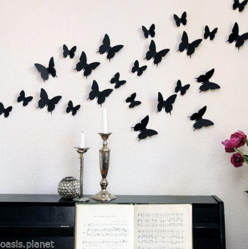 12pcs 3D Butterfly Wall Stickers Butterflies Docors Art DIY Decorations Paper(China (Mainland))