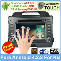 """Pure Android 4.2 7"""" Kia r/ Sportage 2010 2011 2012 DVD GPS Navi Radio Pc Dual Core Capacitive Screen DVR WiFi Support OBDll"""
