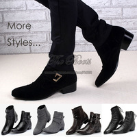 British Style Fashion Men Ankle Boots Shoes Hidden Heel Height Increasing Buckle Suede Free Shipping Casual Footwear Brown Black