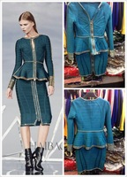 2014 new arrival  high quality green long sleeve with metal 2 piece knee length bandage Celebrity dress Party Evening Dresses HL
