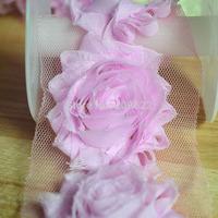"Decoration Fabric Flower For Hair , 2.5"" 10 Yards Trim, Shabby Chiffon Flower For Dress"