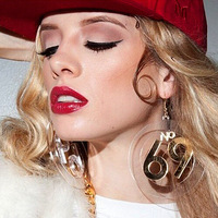2014 Fashion Jewelry For Womens Round Transparent '69' Drop Earring Club Trendy Hiphop Earrings Transparent  Acrylic  Brincos