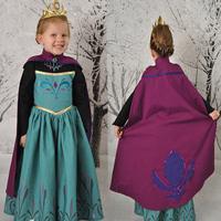 5pcs/lot new 2014 frozen elsa coronation dress for girls elsa costumes dresses baby & kids party dress ( with cape )autumn dress