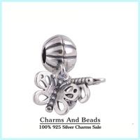 925 Sterling Silver Forever Friends Butterfly Dangle Pendant Charm Fits Pandora Style Charm Bracelets & Bangles