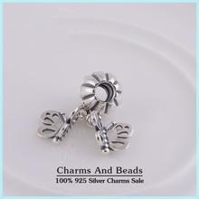 925 Sterling Silver Forever Friends Butterfly Dangle Pendant Charm Fits Pandora Style Charm Bracelets Bangles