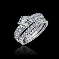 Fashion European Style 1.75ct Zirconia 3 band wedding Rings for women