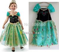 5pcs/lot,New Coronation Day Frozen Princess Anna  Dressing Princess TUTU Dress For 3-8 Year Kid Girl,wholesale