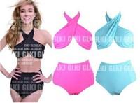 Sexy New Bikini High Waist Biquini Cross Halter Neck Swimsuit Padded Push Up Swimsuit Un Maillot De Bain Bathing Suit 1454