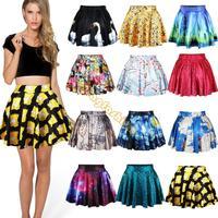Women Girl's Summer Dress Sexy Stylish Pattern Print Elastic Waist Short Mini chiffon Skirt 15 Colors Free Shipping b6 SV004588