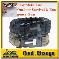 Various Design Outdoor Emergency Survival Bracelet With Magnesium Flint Stone Fire Maker Starter Lighter Kit