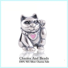 925 Sterling Silver Pink Enamel Lucky Cat Thread Charm Beads For Bracelet Jewelry Making Fits Pandora Style Charm Bracelets