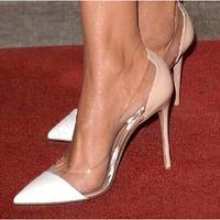 New 2014 Plus Size 33-40 34 12cm Women's Pumps PVC Laser Leopard White Red Nude 10cm Thin High Heels Genuine Leather Pumps Shoes