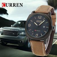 men wristwatch men quartz watch military watch Men's genuine leather sport Watches fashion casual relogio 3 ATM  waterproof 8158