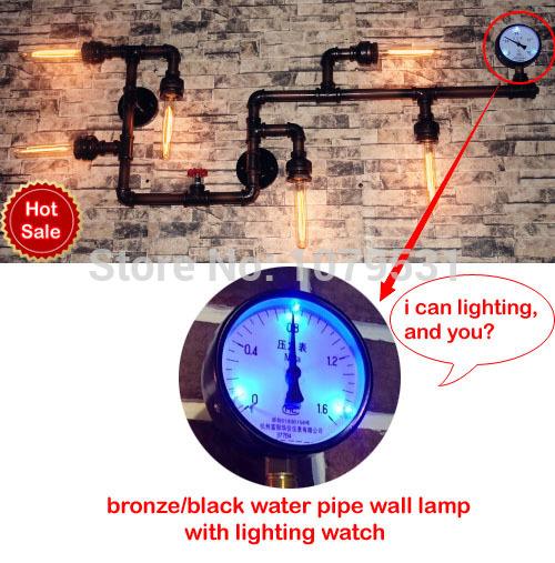 edison e27 pipe à eau mur vintage lampe allée lights bar restaurant rh loft murale fer tuyaux industriels