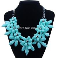 Korean Vintage Women Accessories Resin Teardrop Big Flower Pendants Statement Necklace