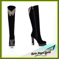 Fashion High Quality Brand Nightclub Over The Knee Boots Thick Heel Diamond Butterfly Knot With Female Boots Sexy Size34-39