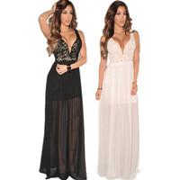 fashion 2014 long elegant prom chiffon dresses Lace Plunging V-Neck Slit retro Evening Gown White /Black vestido de renda
