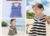 2014 summer new fashion children's clothing baby girls striped cotton beach dress