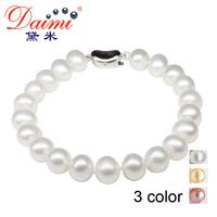 DAIMI Charm Bracelets  8-9mm 100% Natural Freshwater Pearls Bracelet For Women Bracelet Christmas Gift Free Shipping