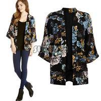 Fashion Womens Vintage Retro Ethnic Floral Print Boho Chiffon Top Kimono Cardigan Coat Loose Cape Blazer Jacket b6 SV005054