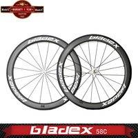 BladeX 458C-X Best CARBON ROAD BIKE WHEELSET 58mm Clincher/T700SC High Tensile Rims Bicycle wheels ;High Configuration