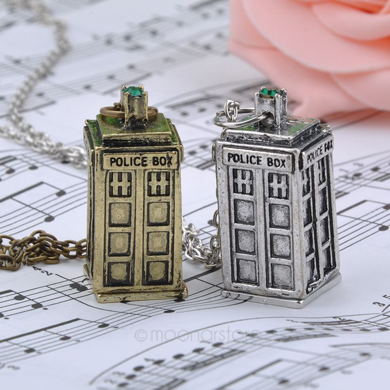 Bronze Antique silver golden color doctor who TARDIS police box pendant necklace Men s women s