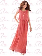 Vestido Casual Hot Sale A -line Vestidos frete grátis 2014 mulheres de grande porte Vestido Longo Bohemian Chiffon Mulheres Top Quality C11088(China (Mainland))