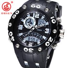 Nueva OHSEN reloj militar Dual Time hombres del deporte relojes de alarma día fecha cronógrafo Relogio Feminino Masculino buceo reloj de natación