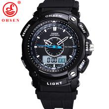 Ohsen análogo Relogio Digital alarma militar fecha cronógrafo negro correa del silicón del reloj reloj de cuarzo ocasional hombres relojes deportivos