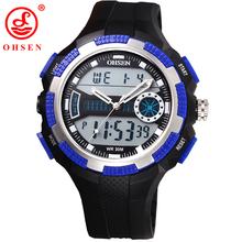 Popular muchacho de hombre deportes relojes de hora Dual analógico Digital cuarzo LED reloj ocasional impermeable exterior buceo relojes militares