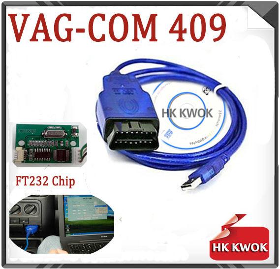 Blue FT232 Fidi Chip Vag 409 VAG-COM 409.1 Vag Com 409.1 KKL OBD 2 USB VAG4